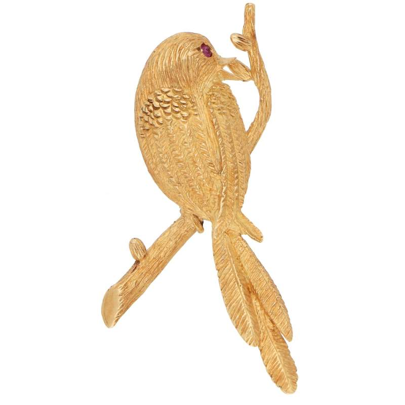 Boucheron Bird Perched on a Branch Brooch Yellow Gold, 1980s