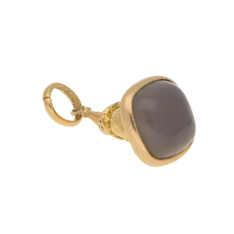 Vintage Gnome Sitting on Agate Pendant in Yellow Gold