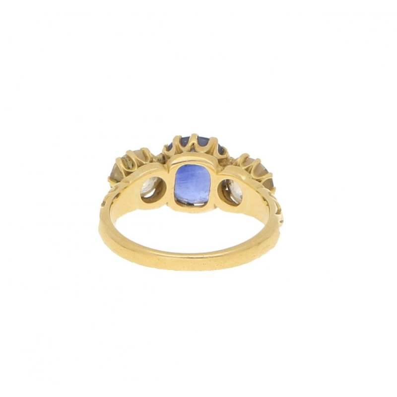 Victorian Cornflower Blue Sapphire and Diamond Three Stone Ring