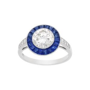 Round Brilliant Cut Diamond and Sapphire Target Ring in Platinum