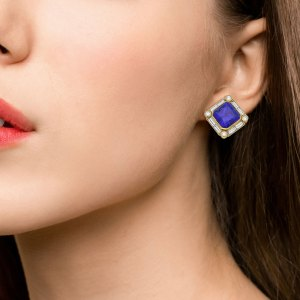 22ct Tanzanite and Diamond Clip Earrings Yellow and White Gold