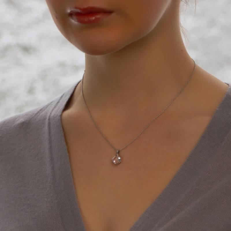 A kite cut morganite pendant set in 18ct white gold