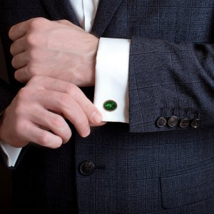 Pheasant cufflinks in green enamel