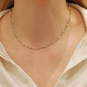Platinum pearl diamond necklace