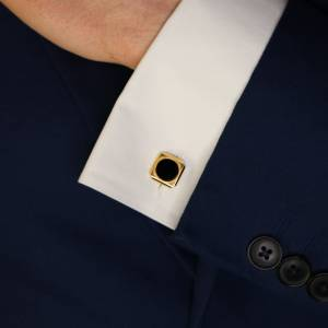 Art Deco Onyx Cufflinks in Yellow Gold and Plated Silver, French