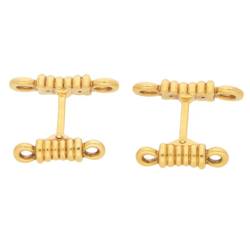 O. J. Perrin 18k yellow gold rope cufflinks.