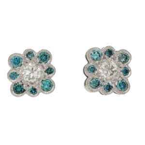 18ct gold blue diamond stud earrings