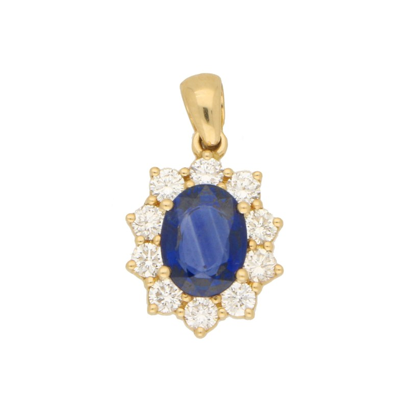 Oval Sapphire and Diamond Cluster Pendant