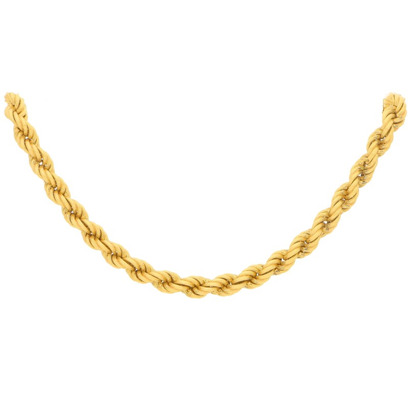 Vintage Twist Rope Necklace in Yellow Gold