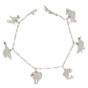 1950s Diamond and Ruby Animal Charm Bracelet Set in Platinum