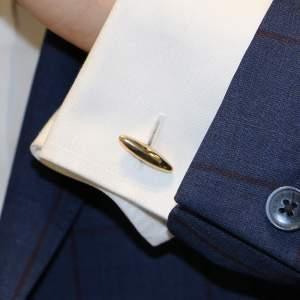 9k plain gold chain link cufflinks