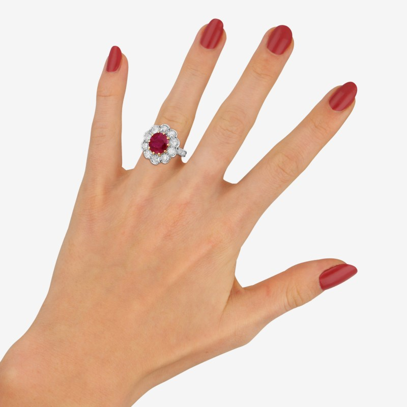 Edwardian style ruby and diamond cluster ring