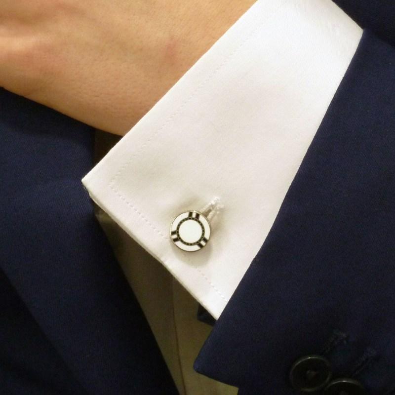 Sterling silver white and black enamel poker chip cufflinks