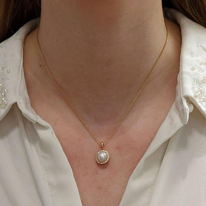 18ct circular pearl diamond cluster pendant
