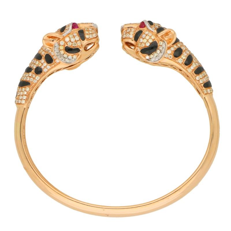 Diamond, Enamel and Ruby Tiger's Head Bangle Bracelet Rose Gold