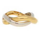 Poiray Double Wishbone Ring in Yellow and White Gold, French