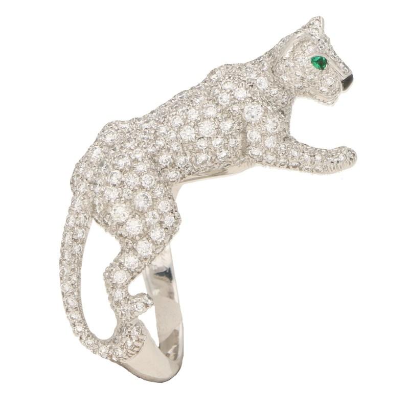 Cartier Diamond and Green Garnet Walking Panther Ring