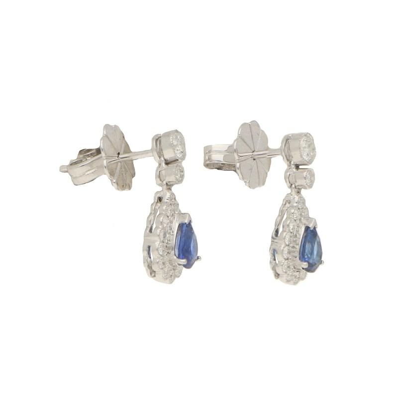 Sapphire & Diamond Pear Shaped Drop Earrings
