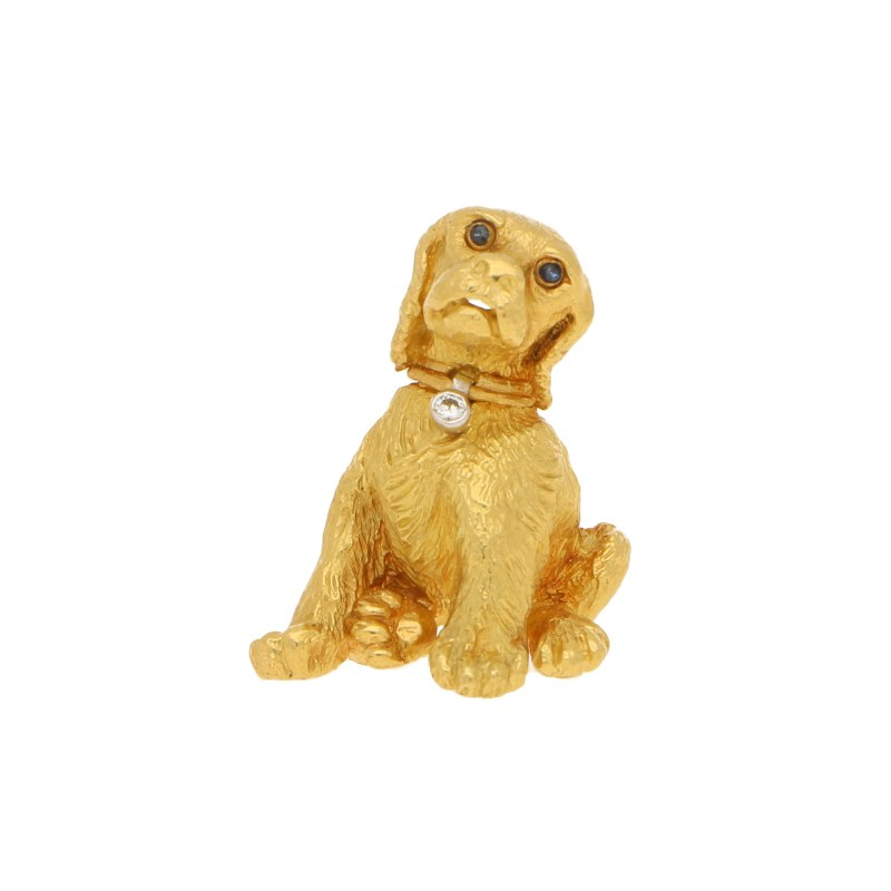 Tiffany & Co. Dog Puppy Brooch in Yellow Gold