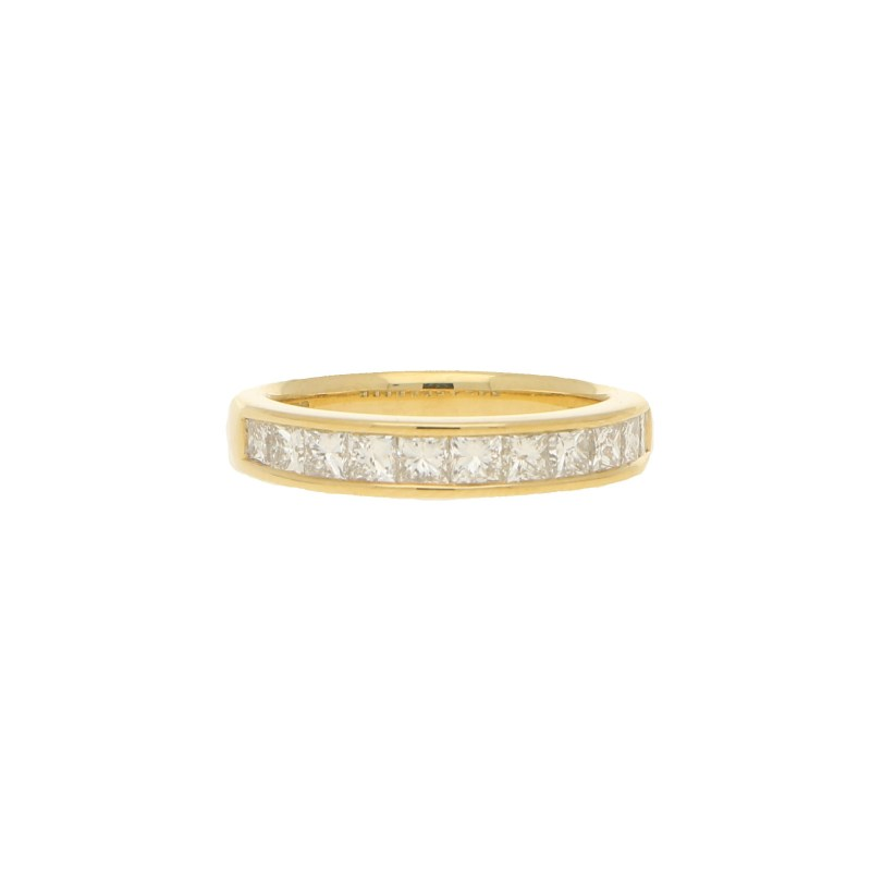 Eternity Ring With Princess Cut Diamonds - set half way round