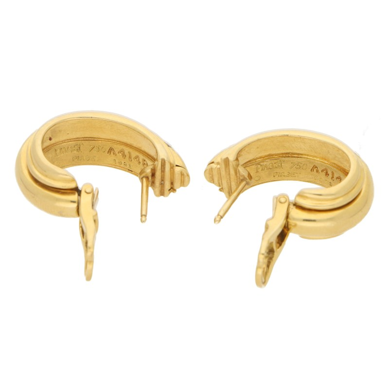 Piaget Possession diamond hoop earrings in 18k yellow gold.