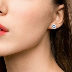 Sapphire & Diamond Target Earrings
