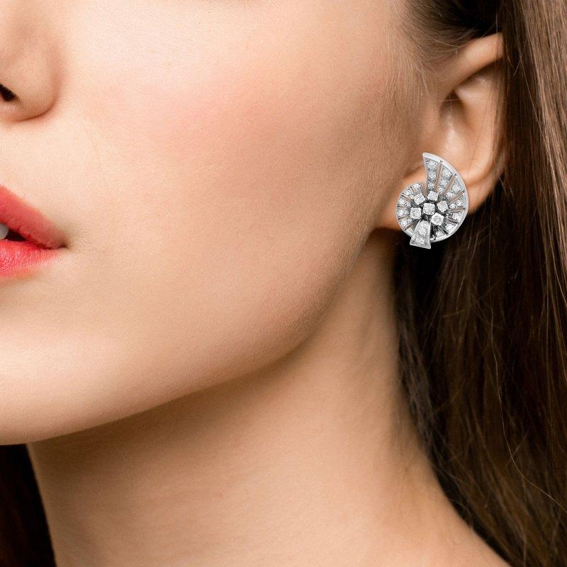 Art Deco Inspired Platinum & Diamond Stud Earrings