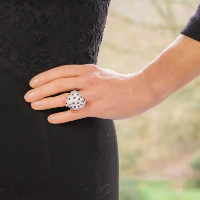Vintage Cartier Pelage Ring in 18ct White Gold, Diamonds & Onyx