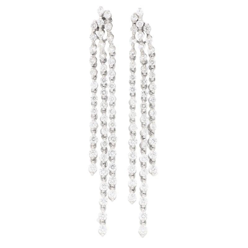 Three Row Diamond Drop Earrings