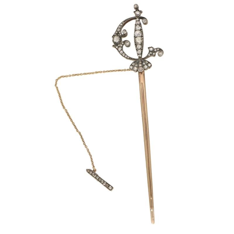 19thC. Diamond Set Jabot Pin