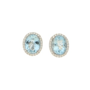 Aquamarine and diamond cluster stud earrings