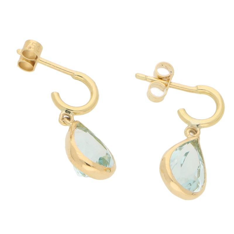 Pear-Shaped Aquamarine Half Hoop Earrings in 18k Yellow Gold