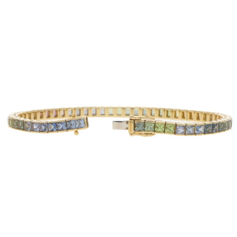 Rainbow Sapphire Line Bracelet in Yellow Gold