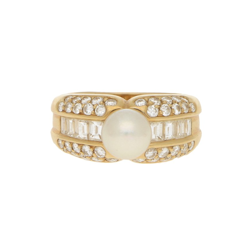 Vintage Cartier Pearl and Diamond Bombé Ring