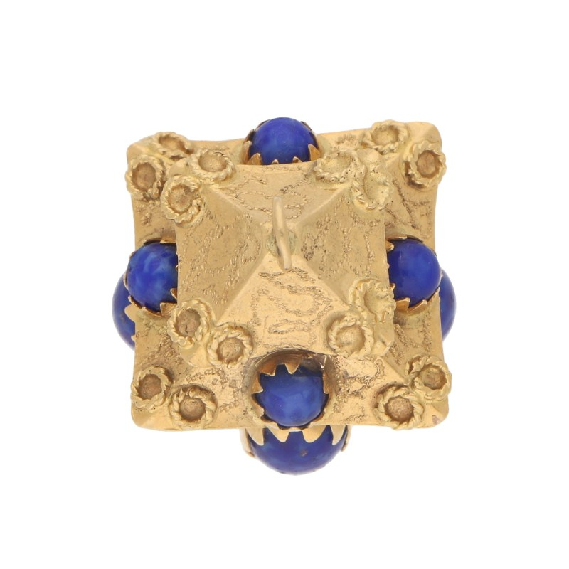 Blue Stoned Chinese Pagoda Charm Set in 18k Yellow Gold