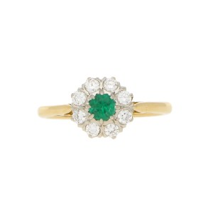 Emerald and Diamond Daisy Cluster Ring