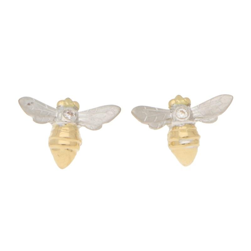 Diamond Bee Stud Earrings