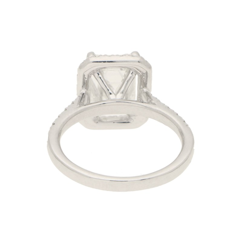 GIA Certified 2.54ct Emerald Cut Halo Cluster Ring