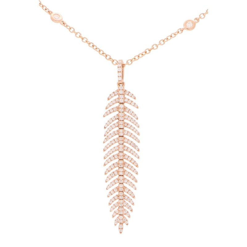Articulated Diamond Feather Necklace in 18k Rose Gold