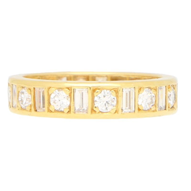 Baguette and Round Cut Diamond Full Eternity