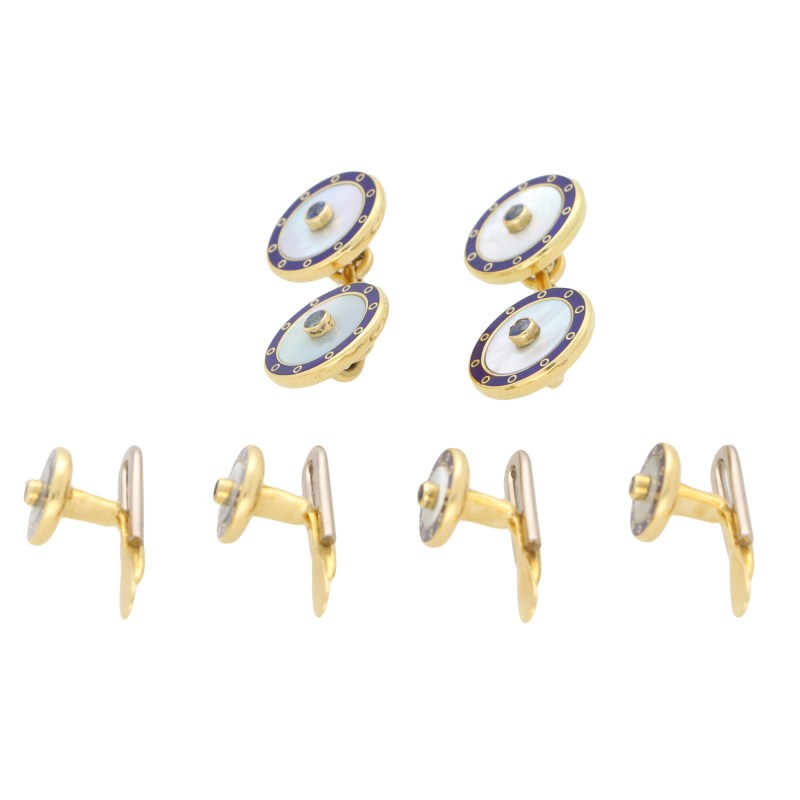 Mother-of-Pearl, Sapphire and Blue Enamel Dress Set