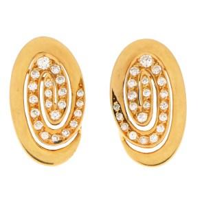 Bvlgari Diamond Swirl Clip On Earrings