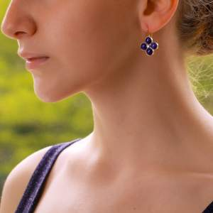 Lapis Lazuli and Diamond Clover Drop Earrings