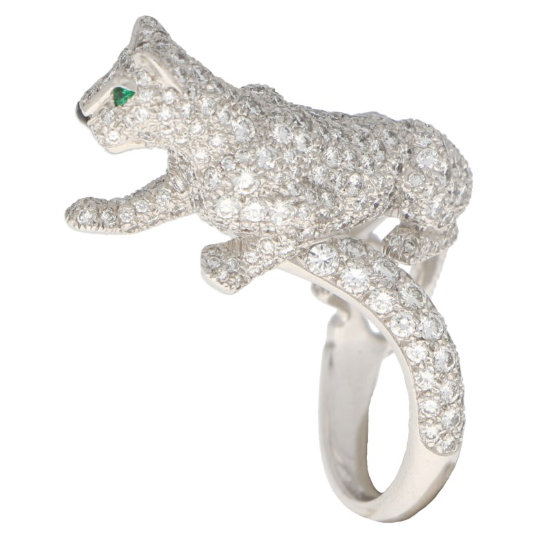 Cartier Diamond and Green Garnet Walking Panther Ring
