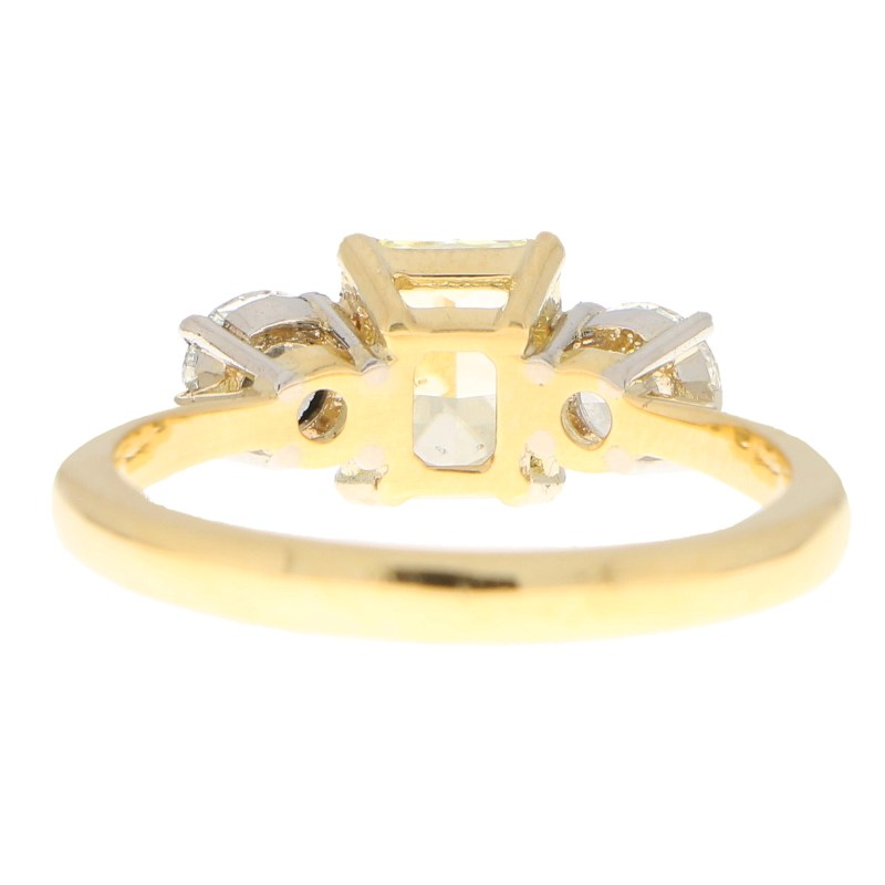 GIA Certified Fancy Yellow Diamond Three Stone Ring