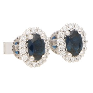 Deep Sapphire and Diamond Cluster Halo Earrings