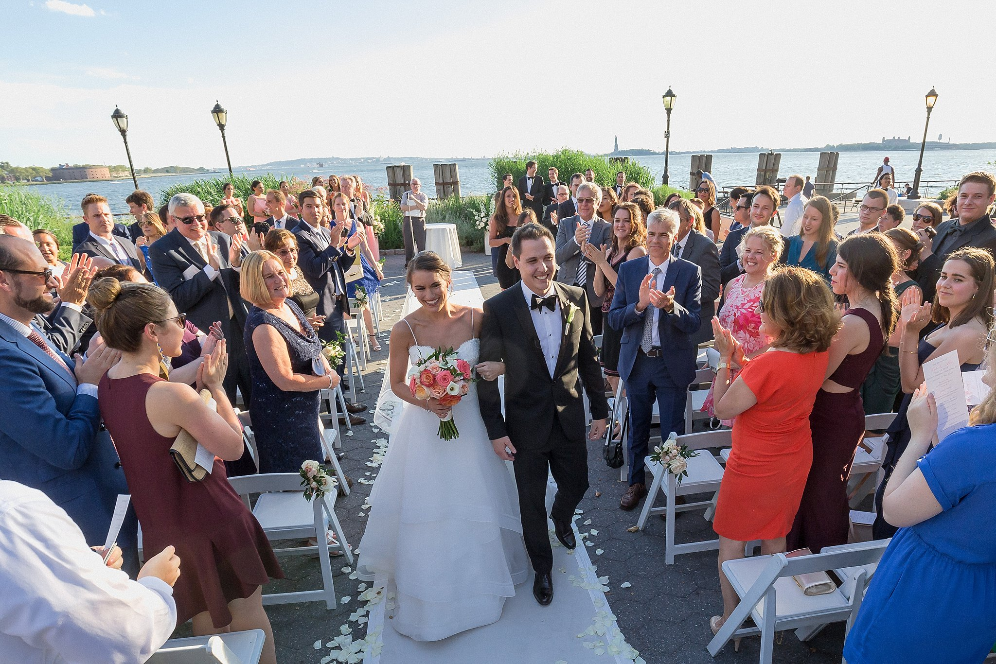Wedding Ceremony at Battery Garden photographed by Susan Shek Wedding Photography in New York City, NY.