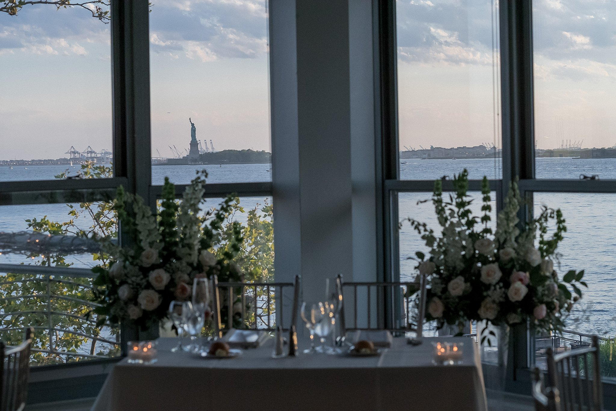 View of a Wedding Reception at Battery Garden photographed by Susan Shek Wedding Photography in New York City, NY.