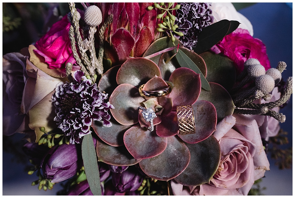 A wedding rings on a plant on wedding day at Guastavinos in New York City.