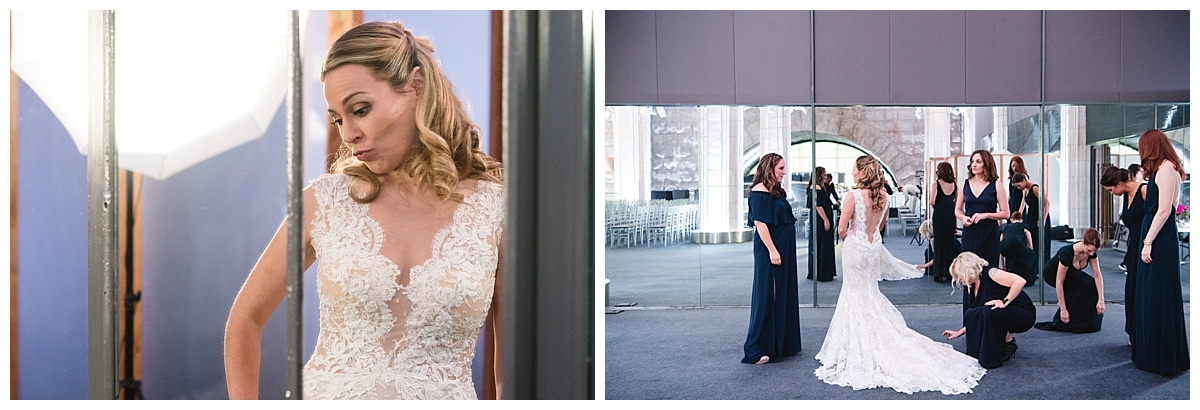 A bride and her bridesmaids on a wedding day at Guastavinos in New York City. Dress by Ines Di Santo.